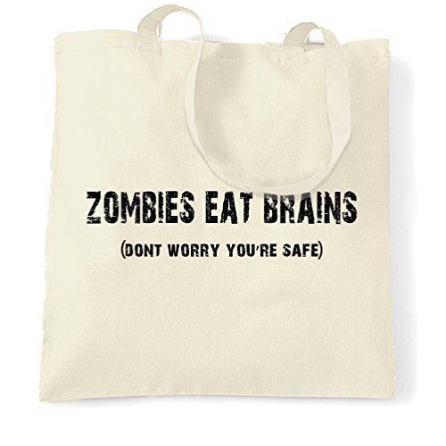 Canvas Tote Shopping Bag Zombies Eat Brains Don't Worry You're Safe Geek Nerd Print Design Funny Rude Sassy Halloween Friends Joke Gift Idea Banter Cute Eco-Friendly Reusable Handbag for Women