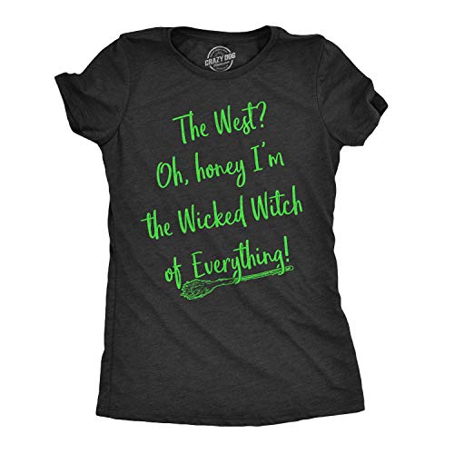 (Womens Im The Wicked Witch of Everything Tshirt Funny Movie Tee for Ladies (Heather Black) - 3XL)