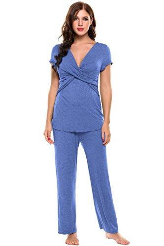 Ekouaer - Pijama entero - para mujer Azul