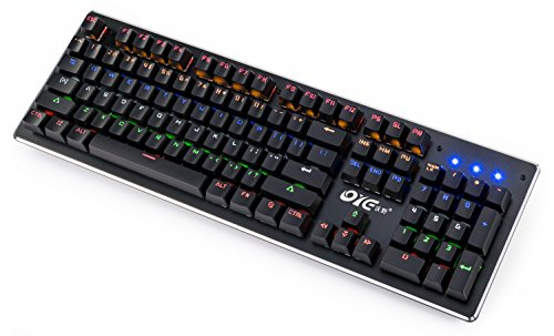 Gaming, Water-Resistant Mechanical Keyboard with Audible Retro Click Sound  ,104 Non-Conflicting Keys, Multicolor Backlit and 3 Levels of Brightness