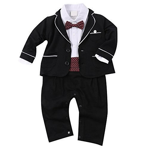 Baby Boy Tuxedo Toddler Suit Set Outfit Clothes with Bowtie & Long Sleeve Coat