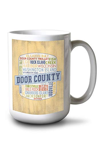 (Lantern Press Door County, Wisconsin - Door County Trolley - Rustic Typography - Contour 98341 (15oz White Ceramic Mug))