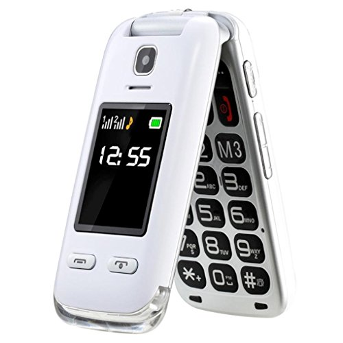 "3 opinioni per SAIET Lumina+ Senior Phone Bianco Dual Sim Display 2.4"" Bluetooth Fotocamera con"