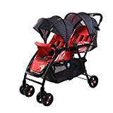 UBG Twin Stroller Can Sit Reclining Foldable Double Trolley Stroller,Red