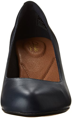 Clarks Womens Heart Heart Dress Pump In Pelle Blu Scuro