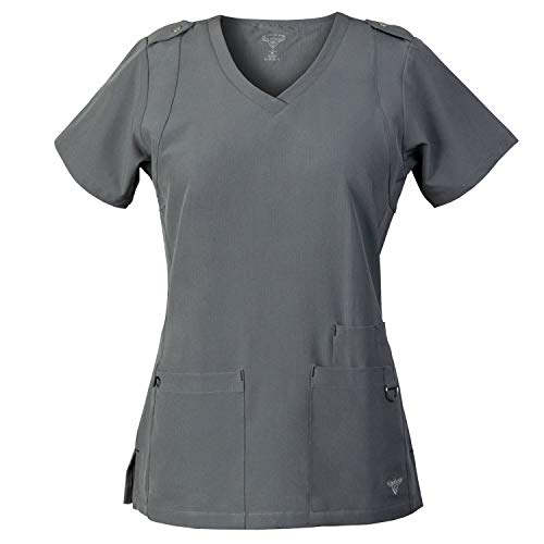 MG Superflex Activewear Scrubs Top w/Shoulder Tab Detail and 4-Way Stretch