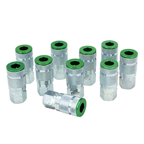 ColorFit by Milton 775AC Pneumatic Couplers - (A-style, Green) - 1/4 NPT Female, (Box of 10)