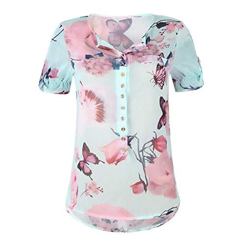 Tantisy ♣↭♣ Women's Casual Floral Printed Button T-Shirt Chiffon Irregular Hem Top Blouse Plus Size Long Sleeve/Short Sleeve