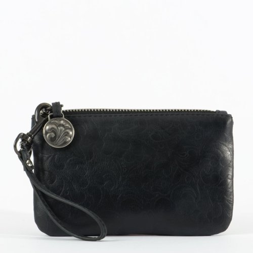 e86f1a31b8 Galleon - Enesco Jim Shore Heartwood CreeK Embossed Leather Wristlet Black  Leather New For 2013