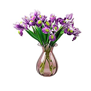 Calcifer 10 Pcs Artificial PU Iris Stems Real Touch Flowers for Home Garden Office Wedding Party Decoration 31