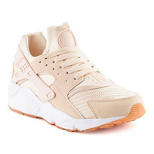 FiveSix Herren Damen Sneaker Sportschuhe Laufschuhe Freizeitschuhe Textilschuhe Camouflage Schnürschuhe Low-Top Unisex Schuhe Pink-W