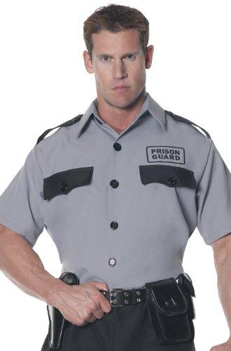 Underwraps Men's Plus-Size Prison Guard Shirt, Grey/Black, (Male Prison Guard Costume)