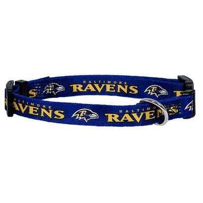 Baltimore Ravens Adjustable Pet Dog Collar (Large)