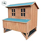 Eight24hours Large Wooden Chicken Coop Backyard Hen House 5-8 Chickens with 4 Nesting Box Only
