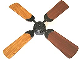Global Electric 36-inch Non-Brush Ceiling Fan for RV, Oil Rubbed Bronze Finish with Remote Control. Cherry / Light Cherry Reversible Blades