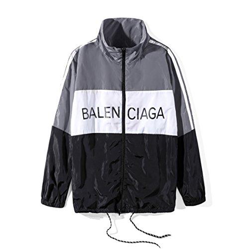 歴史ベール目に見えるバレンシアガ BALENCIAGA メンズ ウインドブレーカー ラックジャケット 長袖 切替 スポーツウェア ブルゾン (S, グレー)