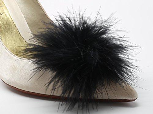 Detachable Feather Pom Pom Shoe Clips Black Set of 2