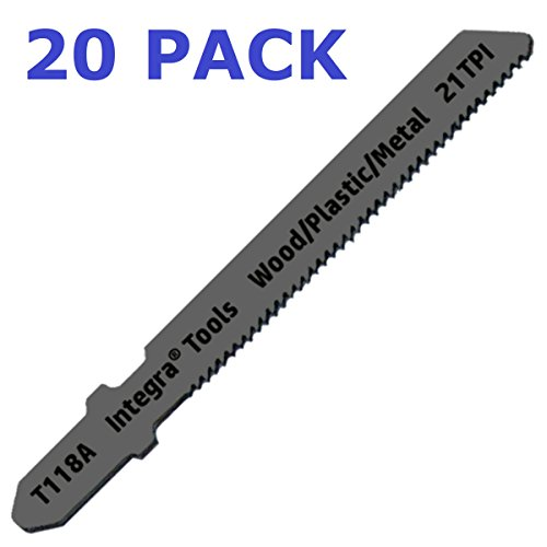 - INTEGRA Tools T118A T-Shank 20 Piece Contractor Jigsaw Blade Set with storage tube. Made with Metal. Blades optimized for cutting Metal, Wood, PVC, and Plastic.