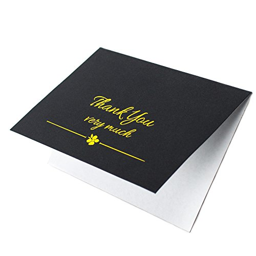 Gold Thank You Cards With Envelopes - For Weddings, Birthdays, Baby Showers, Christmas, Gift Appreciation - 4 x 6 - 20 pack