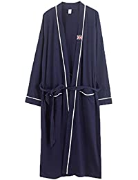 Men Cotton Black Bathrobe Sleepwear Long Classic Spa Robe Pajama L-XXXXL SY11