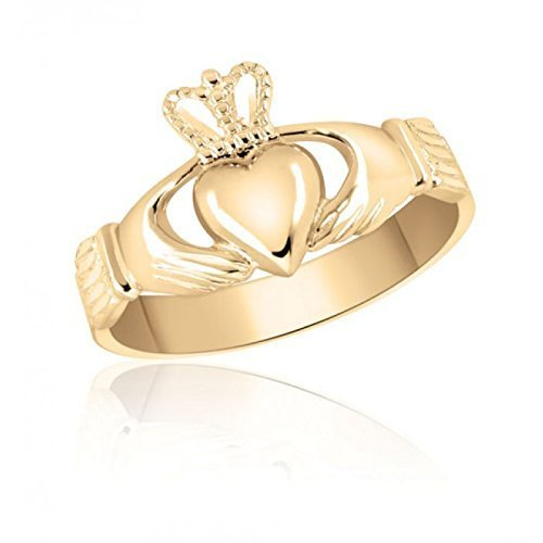 Ladies 10K Yellow Gold Claddagh Ring – Wedding – Engagement – Promise – Heritage – Irish – English