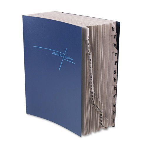 Smead® - Deluxe Expandable File, 1-31/Jan-Dec Index, Letter Size, Pressboard, Navy Blue - Sold As 1 Each - Keep loose paperwork neatly categorized in this attractive desktop file.