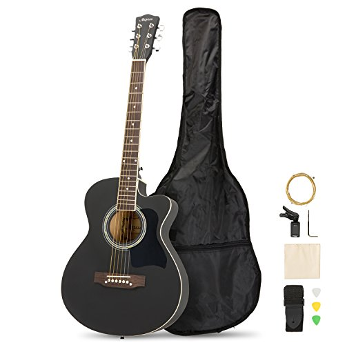 Artall 39 Inch Handmade Solid Wood Acoustic Cutaway Guitar Beginner Kit with Tuner, Strings, Picks, Strap, Matte Black (Handmade Solid Wood)
