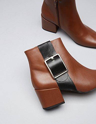 Stiefeletten Reißverschluss mit Braun Damen FIND Lederschnalle Tan und zpwSdnqR