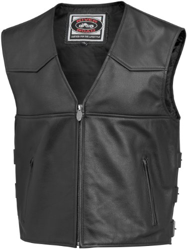 River Road Plains Mens Black Leather Vest - 48