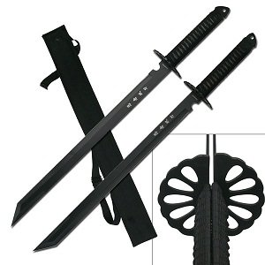 BladesUSA-HK-6183-Twin-Ninja-Swords-Two-Piece-Set-Black-28-Inch-Overall