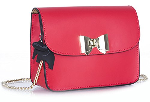 Italian Structured Handbag Red Shoulder Leather Small Bag Shop Scarlet Big Genuine Party Clutch 6CpXqXw