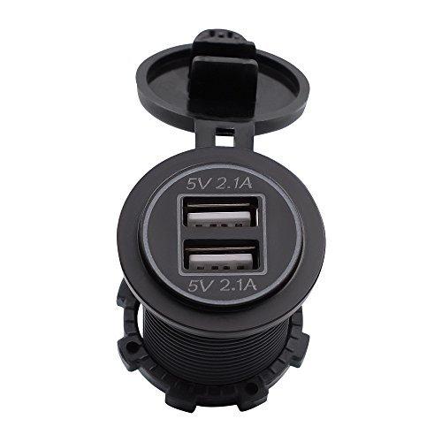 Color Negro TurnRaise 4.2A Toma USB Cargador para Coche Barco Motocicleta 12-24 Voltios IP66 Led Rojo