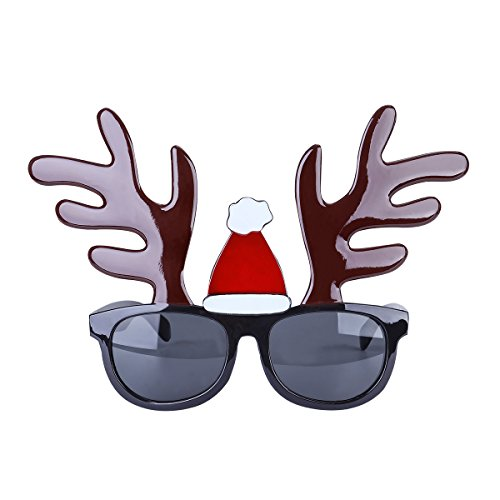 OULII Funny Christmas Reindeer Sunglasses Frame Novelty Costume Glasses for Christmas Party - Sunglasses Christmas