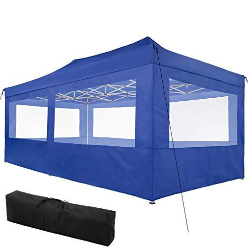 TecTake 800688 Carpa de Jardín 6 x 3m, Plegable, Aluminio, 100% Impermeable, 4 Paneles Laterales, con Cuerdas Tensoras, Piquetas y Bolsa (Azul | no. 403165): Amazon.es: Jardín