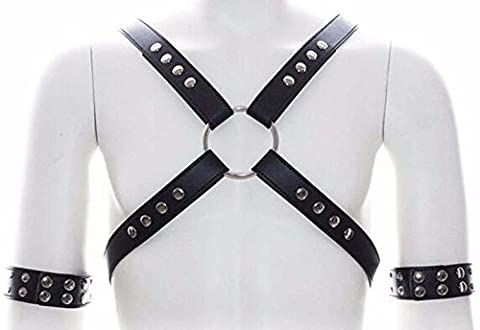 Leather Chest Harness Armlet Fetish Wear Erotic Costume BDSM Gay LGBT Sex Toys (Harness Gay)
