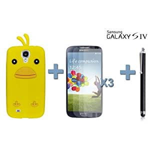 OnlineBestDigital - Chick Style Soft Silicone Case for Samsung Galaxy S4 IV I9500 / I9505 - Yellow with 3 Screen Protectors and Stylus