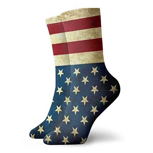 (Women's Lightweight Active Crew Socks For Hiking/Running - Novelty Funny Casual Gift Dress Socks For Teens Girls Boys Kids - Vintage Distressed Patriotic USA American Flag Stars And Stripes)