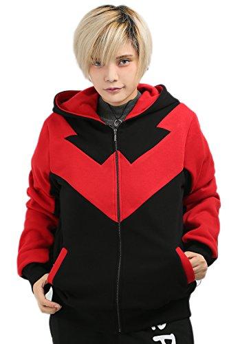 XCOSER Nightwing Sweatshirt Zip Up Hoodie for Women Red L