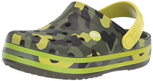 Crocs Kids' Crocband Camo Graphic Clog, Citrus, 1 M US Little ()