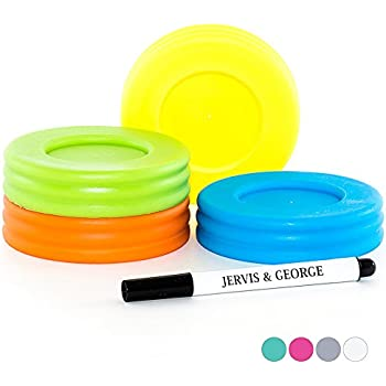 'Mason Jar Lids - Compatible with Regular Mouth Size Ball Jars - Reusable and Leak Proof Plastic Lids are BPA Free - Includes Pen for Marking - Green, Orange, Yellow & Blue - Pack of 4' from the web at 'https://images-na.ssl-images-amazon.com/images/I/41pLp1mrhuL._SL500_AC_SS350_.jpg'