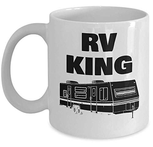 (CAMPING coffee mug - RV KING - unique funny campers rv trailer tent outdoor 11oz ceramic tea cup gift for him - Sold only by Saroth design)