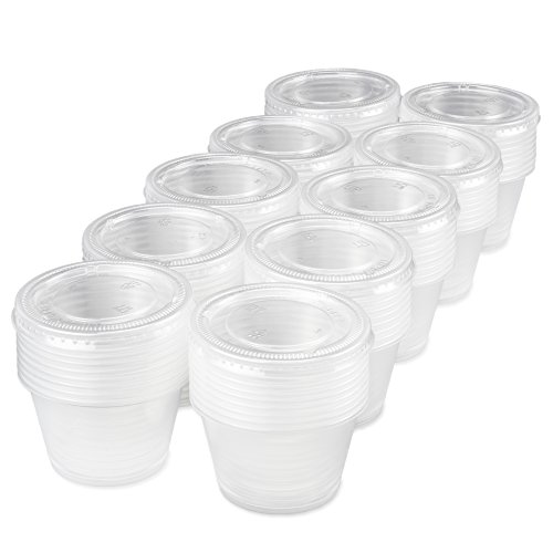 100-pack of Disposable Clear Plastic Condiment Storage Cups with Lids - Choose 2 oz. or 4 oz. - For Restaurant, Home, Gelatin Shots by Back of House Ltd. (4 oz.)]()