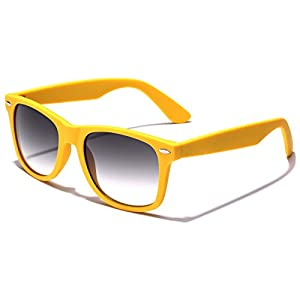 Colorful Retro Fashion Sunglasses - Smooth Matte Finish Frame - Yellow