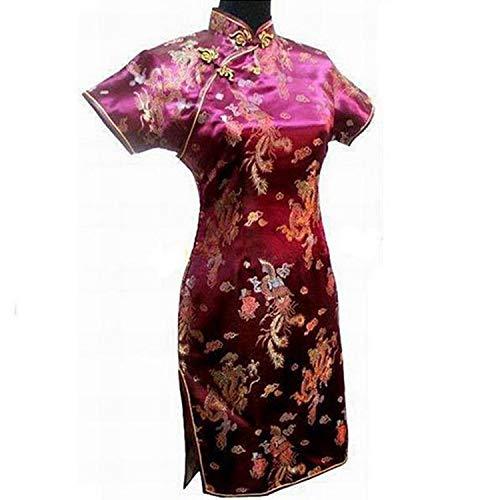 Elegant Slim Plus Size Qipao 2019 New Chinese Female Rayon Dress Mandarin Collar Vintage Cheongsam S-3Xl 4XL 5XL 6XL,Burgundy 2,5XL (Dress Mandarin Collar Backless)