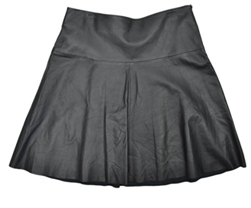 DKNY DKNYC Women's Genuine Leather Panels A-Lined Skirt Black 0
