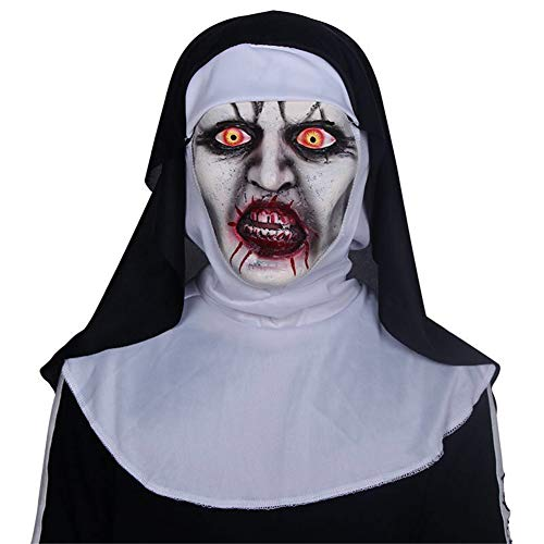 AnLing Scary Clown/Nun Mask for Adults Full Head Mask Latex Rubber Mask, Halloween Costume Party Props Masks for Masquerade/Birthday Parties (C Style) for $<!--$29.99-->