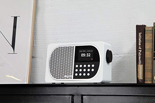 LEMEGA M2+ Internet/FM Digital Radio with Bluetooth, Internet Radio and Spotify Connect, WiFi, Headphones Output, AUX Input, USB MP3, Clock, Alarms, 20 Stations Presets, app Control - White Satin