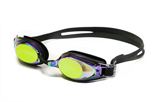 Optical Prescription Swim Goggles with Case - Rainbow Mirrored - Negative - Prescription Mirrored Goggles Swim