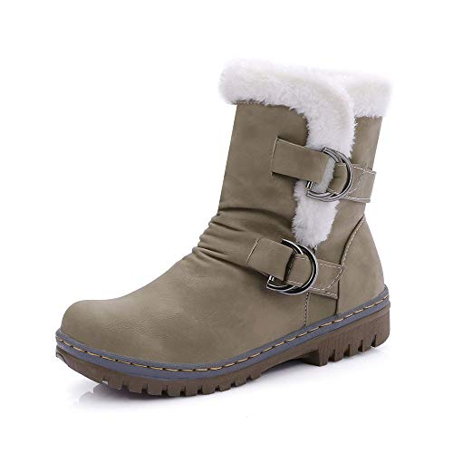 Women's Ladies Classics Buckle Warm Shoes, Fur Martin Snow Boots Short Bootie,Sunsee Grill ()