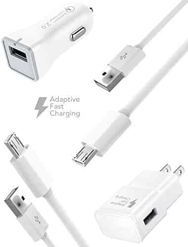 Samsung Galaxy S6 / Galaxy S7 Edge / Galaxy S7 / Note 5 / Galaxy S6 Active Charger Fast Micro USB 2.0 Cable Kit by Ixir - {Fast Wall Charger + Fast Car Charger + 2 Cable} Up to 50% faster charging!